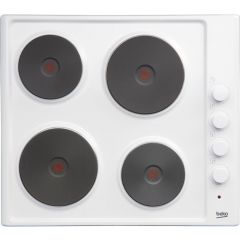 Beko HIZE64101W 60cm Sealed Solid Plate Electric Hob (White)