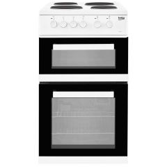 Beko KD533AW 50cm Double Cavity Electric Cooker 4 Sealed Plate Hob - Fan Oven Electric 50cm White