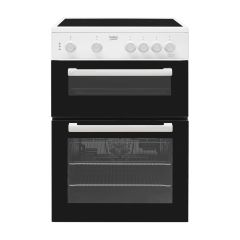 Beko KTC611W 60cm Double Cavity Electric Cooker Rapidlite Ceramic Hob with Fan Oven Electric 60cm Wh