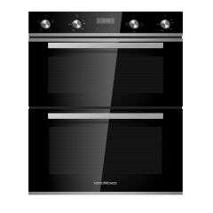 NordMende DOUC415IX 38/54 Litre Built Under Double Fan Oven (Black Glass and Stainless Steel)