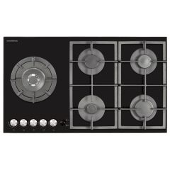 NordMende HGX903BGL 90cm Gas Hob (Black Glass)